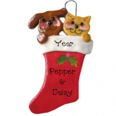 SALE*.....Cat and Dog in Sock Ornament