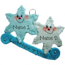 *Snowflake  Family of 2 Ornament