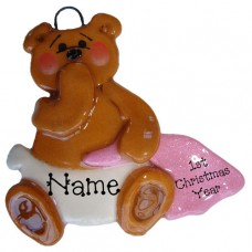 Pink Blanket Bear Ornament