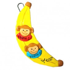 sale Banana Monkey Family of 2 Ornament