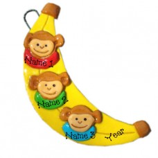 Banana Monkey Family of 3 Ornament