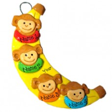 sale Banana Monkey Family of 4 Ornament