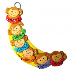 Banana Monkey Family of 6 Ornament