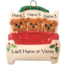Bears in a Bed Family of 3 Ornament