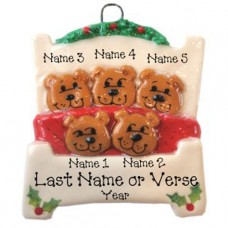 Bears in a Bed Family of 5 Ornament