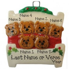 Bears in a Bed Family of 6 Ornament
