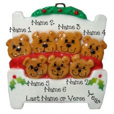 Bears in a Bed Family of 7 Ornament
