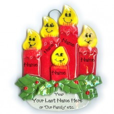 Candle Family Ornament of 5