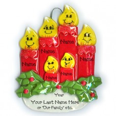 Candle Family Ornament of 6