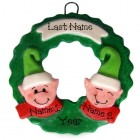 Elf Wreath Family of 2 Ornament