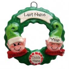 Elf Wreath Family of 3 Ornament