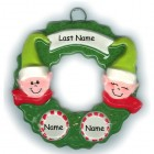 Elf Wreath Family of 4 Ornament