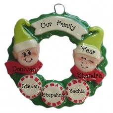 Elf Wreath Family of 5 Ornament