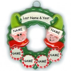Elf Wreath Family of 6 Ornament