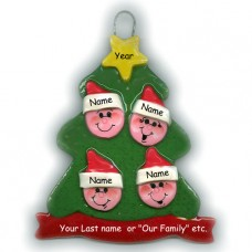 Elf Tree Family of 4 Ornament