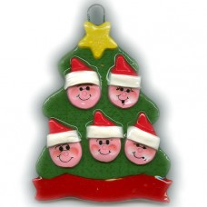 Elf Tree Family of 5 Ornament