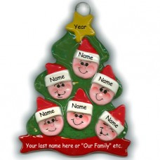 Elf Tree Family of 6 Ornament