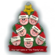 Elf Tree Family of 7 Ornament