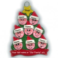 Elf Tree Family of 8 Ornament