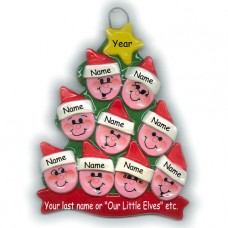 Elf Tree Family of 9 Ornament