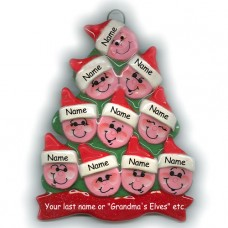Elf Tree Family of 10 Ornament