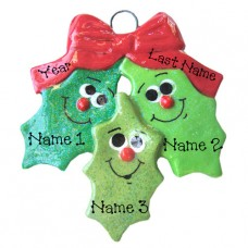 Holly Family of 3 Ornament