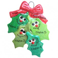 Holly Family of 4 Ornament