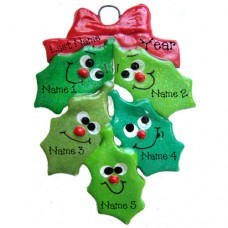 Holly Family of 5 Ornament