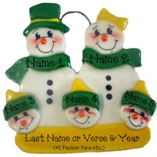*Snowman Packer Family of 5 Ornament