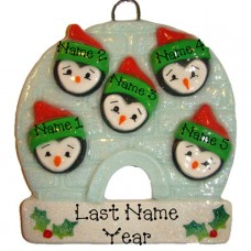 Penguin Family of 5 Ornament