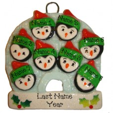 Penguin Family of 8 Ornament