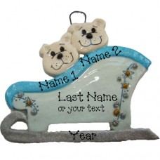 Polar Bears on a Sleigh Family of 2 Ornament