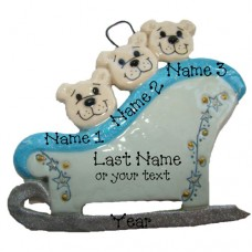 Polar Bears on a Sleigh Family of 3 Ornament