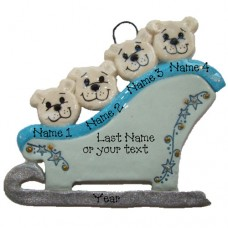 Polar Bears on a Sleigh Family of 4 Ornament
