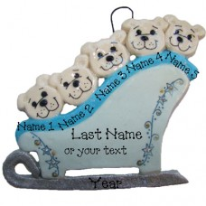 Polar Bears on a Sleigh Family of 5 Ornament