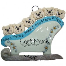 Polar Bears on a Sleigh Family of 6 Ornament