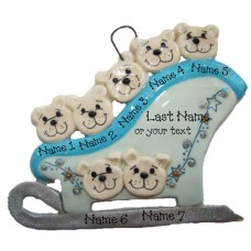 Polar Bears on a Sleigh Family of 7 Ornament