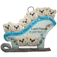 Polar Bears on a Sleigh Family of 8 Ornament