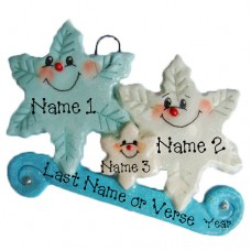 *Snowflake  Family of 3 Ornament