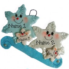 *Snowflake  Family of 4 Ornament