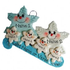*Snowflake  Family of 6 Ornament