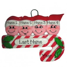 Candy Cane Family of 4 Ornament