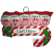 Candy Cane Family of 5 Ornament