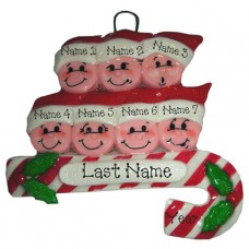 Candy Cane Family of 7 Ornament
