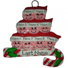 Candy Cane Family of 9 Ornament