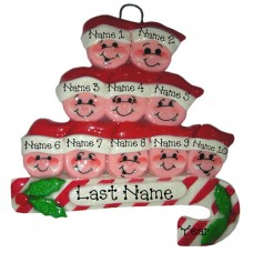 Candy Cane Family of 10 Ornament