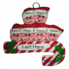 Candy Cane Family of 6 Ornament