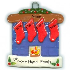 Fireplace Family of 4 Ornament