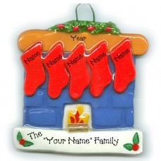 Fireplace Family of 5 Ornament