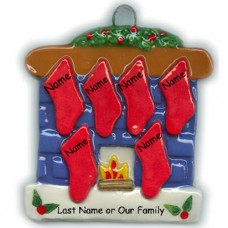 Fireplace Family of 6 Ornament